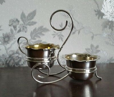 A Vintage Silver Plated Sugar Bowl and Creamer with Stand, Yeoman Plate