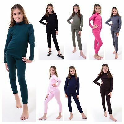 Kids Girls Turtle Polo Neck 2 Piece Top&Bottom Lounge Set Tracksuit Jogging Suit
