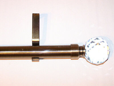 28mm Antique Brass Eyelet Curtain Pole Crystal Ball Finials 1.2m 1.5m 2.4m 3m