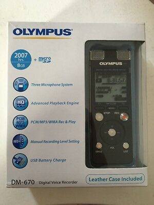 Olympus DM-670 8GB Digital Voice Recorder - Leather case included