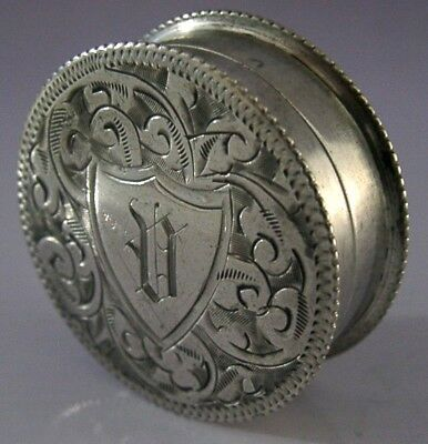 Pretty Sterling Silver Engraved Snuff / Pill Box 1901 Antique