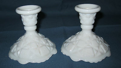 """2 Westmoreland  OLD QUILT WHTE *4"""" CANDLESTICKS*OQ 8*"""