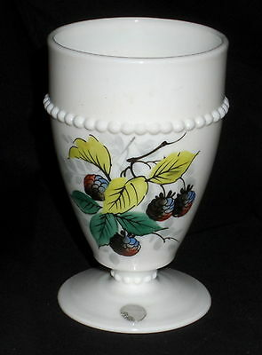 "Westmoreland BEADED EDGE FRUITS RASPBERRIES *5"" 8oz FOOTED TUMBLER w/ STICKER*"