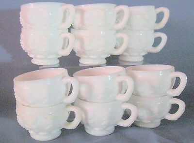 12  Westmoreland PANELED GRAPE WHITE *PUNCH CUPS*PG 134*