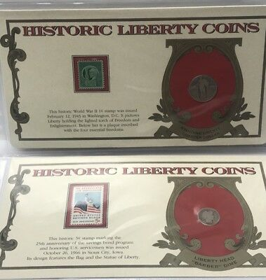 The Historic Liberty Coins - 1915 Liberty Dime & 1928 Standing Quarter W. Stamps