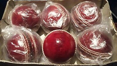 CRICKET 4PIECE PLAIN  5.5oz RED LEATHER BALLS ×6 (top seller.