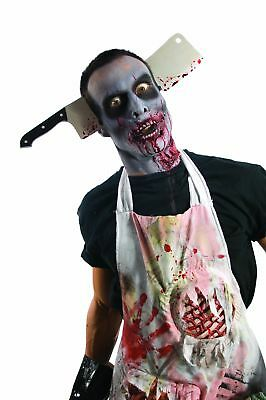 Halloween Party Costume Prop Bloody Zombie Head Butcher Knife Cleaver Headband