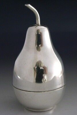 SUPER QUALITY GOOD SIZED SOLID SILVER NOVELTY PEAR SHAPED BOX EGYPT c1960-80s