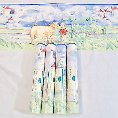 Wallpaper Border Lot Jack Beanstalk Cloud Castle Cow 5 Rolls Nursery Kids Room