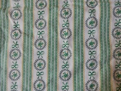 Vintage Pillow Ticking -  Green Floral Stripe Pattern - Mint Condition