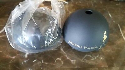 2 Pc Johnnie Walker Whiskey Promo Ice Ball Mold Maker Mould Black & Gold Rubber