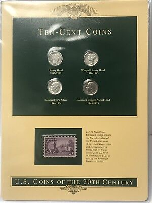 Ten-Cent Coins 1915,1945,1964-D,1995-P With 3C Stamp In Plastic Holder
