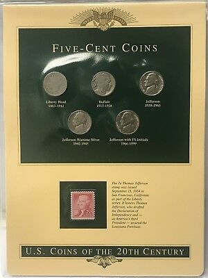 Five-Cent Coins 1912,1936,1964,1943-P,1976-D With stamp in clear plastic holder