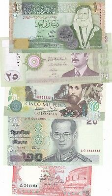 Lot Of 5 Different World Banknotes Uncirculated (B)