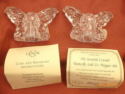 Lenox Jeweled Full Lead Crystal Butterfly Salt & Pepper Shakers Set NEW