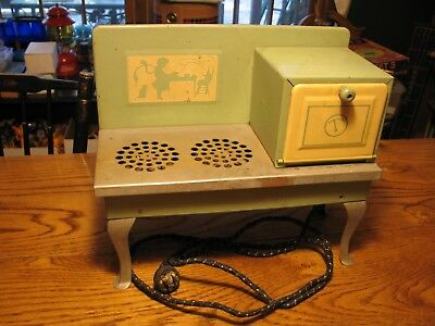 Vtg 30's Empire Metal Ware Corp Child Real Electric Stove Oven USA Pressed Steel
