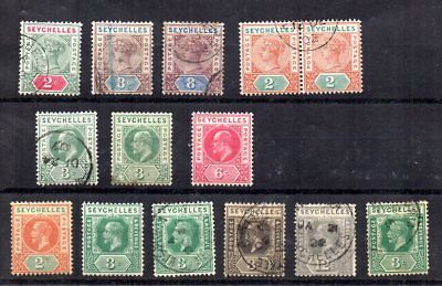 Seychelles - Small Collection of Early issues QV onwards 10 Used/4 Mint