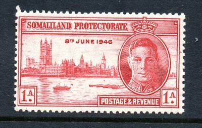 Somaliland Protectorate 1946 Victory Sg117a 1a Carmine Perf 13.5 Mint - Cat £14