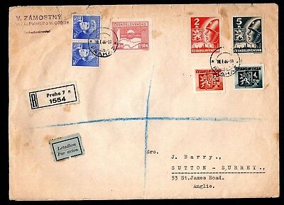 Czechoslovakia - 1946 Registered Airmail Cover to the UK