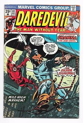 Daredevil #111 (1974) 1st Silver Samurai! shanna the She-Devil! VG/VG+ No Res!!!