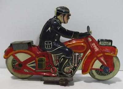 1950s Mettoy Police Patrol Motorcycle Tin Litho windup toy No Reserve