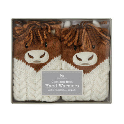 Aroma Home Highland Cow Cute Knitted Cover Click & Heat Gel Hand Warmers (PAIR)
