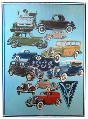 1934 Ford Hand Drawn Illustration Poster