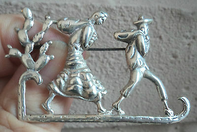 Large Mexican Sterling Silver Brooch -  Mexican Man + Woman + Cactus  -  Mexico
