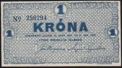 ICELAND> 1 Krona P#17b. 1921-1925. (Low 1885-1900) VERY RERE. UNC.
