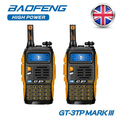 2Pcs Baofeng GT-3TP Mark III VHF/UHF 136-174/400-520MHz 1/4/8W Walkie Talkie UK