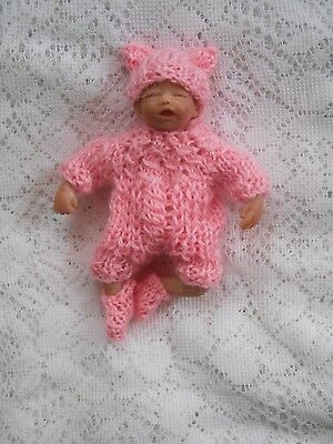 Doll Clothes Handmade Pink Outfit Fits Artist Sculpted Ooak Baby Girl 4in to 5""