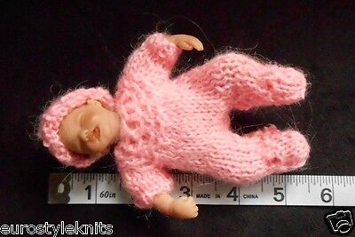 "Doll Clothes footed Hand-knit Bright Pink Suit Fits Baby 4.5"" to 5"" H. Handful"