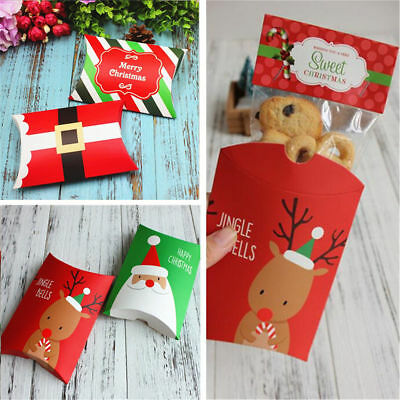 5pcs Christmas Stripe Santa Green Red Deer Party Paper Sweets Pillow Bags Boxes