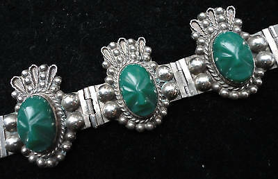 Large Mexican Silver Mask Jade Green Bracelet - Mexico