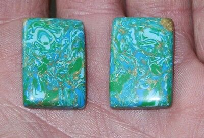 Matching pair of Copper treated Turquoise. 45 carats