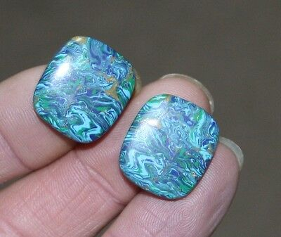 Matching pair of Copper Treated Turquoise. 35 carats.