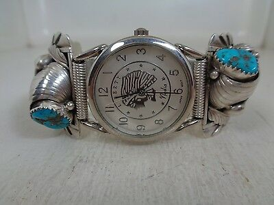 Watch Tips  .925 Sterling With Watch  Faux Claw Turquoise & Red Coral By ES