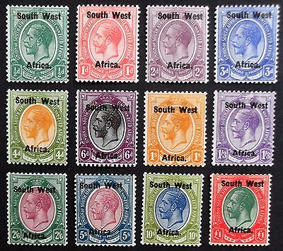 (A1259) South West Africa 1923 SG1-12 English single stamps set of (12) LMM.