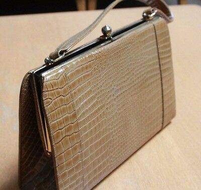 1960's Frenchy of California handbag Leather Gold Reptile New NOS!