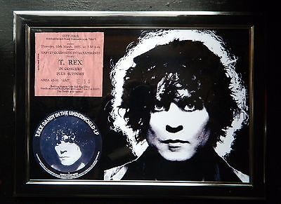 "MARC BOLAN /T.REX  - 10""x8"" REPRODUCTION TICKET FRAME T.REX NEWCASTLE 1977"