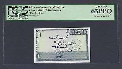 Pakistan One Rupee ND(1975-81) P24As Specimen Perforated  Uncirculated