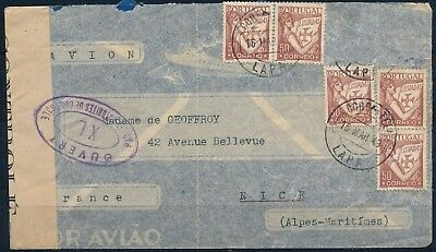 Portugal 1943 , Censored Cover Lisboa To Nice W/ Nice Franking.#l14