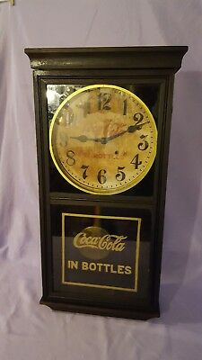 Coca Cola Wall Clock, 1930's Advertising, Key Wound w/Pendulum, Works Great