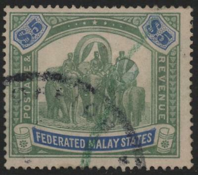FEDERATED MALAY STATES: 1925 Sg 80 $5 Green & Blue Fiscally Used Cat £55 (10548)