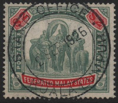 FEDERATED MALAY STATES: 1936 Sg 78 $2 Green & Carmine Fiscal Use Cat £95 (10544)
