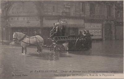 FRANCE: 1910 RP Postcard Firemen Flood Rescue: Rue de la Pepiniere,Paris (11228)
