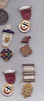 Collection Of 5 Masonic/masons Medals/jewels, Not Silver Or Gold.
