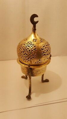 Antique Islamic Brass Incense Burner Ottoman Syrian Mamluk