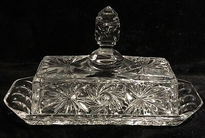 Vintage Pinwheel Crystal Covered Butter Dish - A Heavy Piece