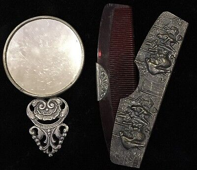 Vintage Hans Jensen Silver Plate Repousse Cover Pocket Comb and Mirror Denmark
